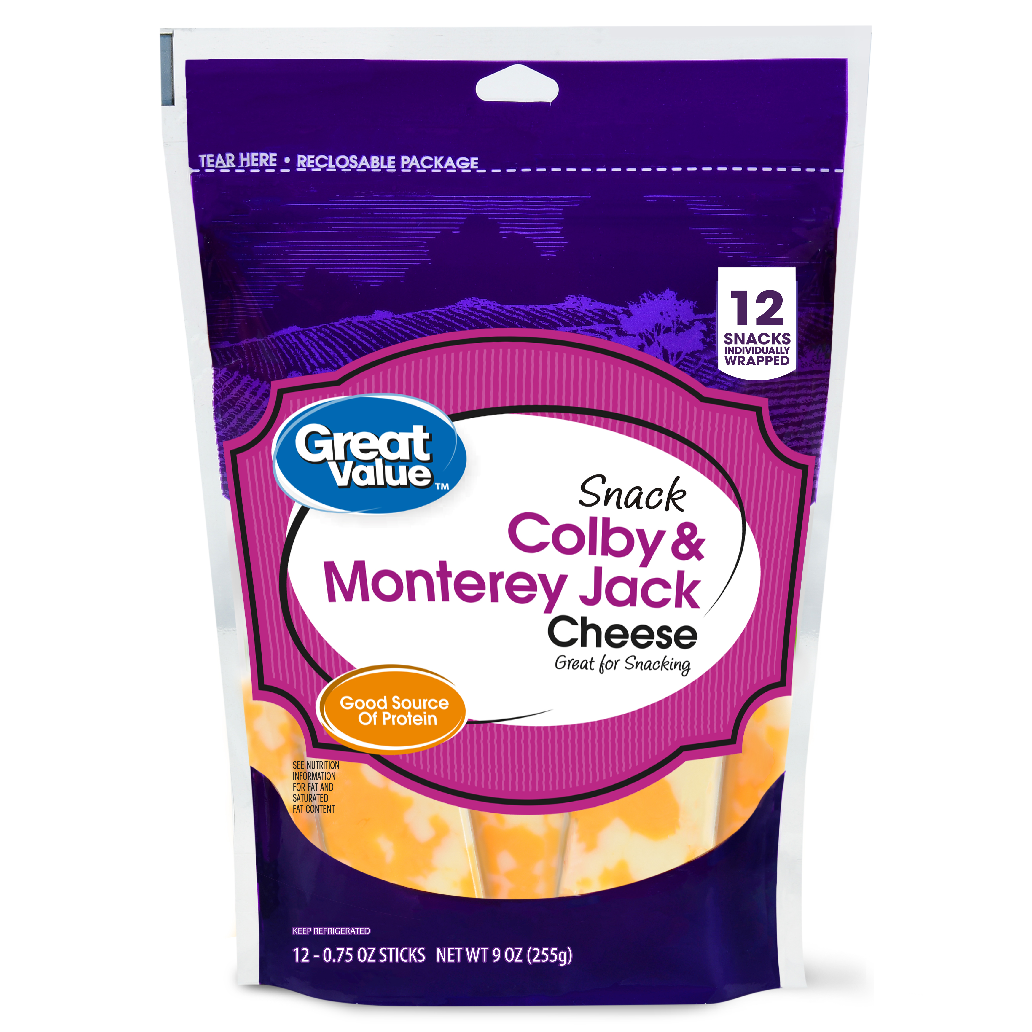 Great Value, Colby & Monterey Jack Cheese Snack Blocks, 9 Oz., 12 Count