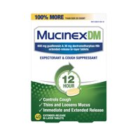 Mucinex DM 12-Hour Expectorant and Cough Suppressant Tablets - 40 Tablets