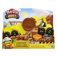 Play-Doh Wheels Excavator and Loader Toy Construction Trucks with Sand Buildin' Compound (6 oz)