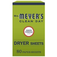 Mrs. Meyer's Clean Day Lemon Verbena Scent Dryer Sheets - 80pk