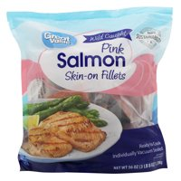 Great Value Frozen Wild Caught Pink Salmon Skin-On Fillets, 56 oz