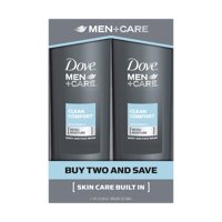 Dove Men+Care Clean Comfort Body and Face Wash 18 oz, 2 Count