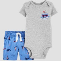 Baby Boys' 2pc 4th of July Blue Whale Top and Bottom Set - Just One You® made by carter's Gray/Blue