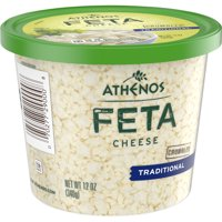 Athenos Feta Cheese Crumbles, Traditional Feta Cheese, 12 oz Tub