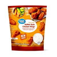 Great Value Buffalo Style Chicken Wings, 22 oz (Frozen, Fully Cooked)