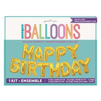 "Unique 14"" Happy Birthday Gold Foil Balloon Banner Kit"