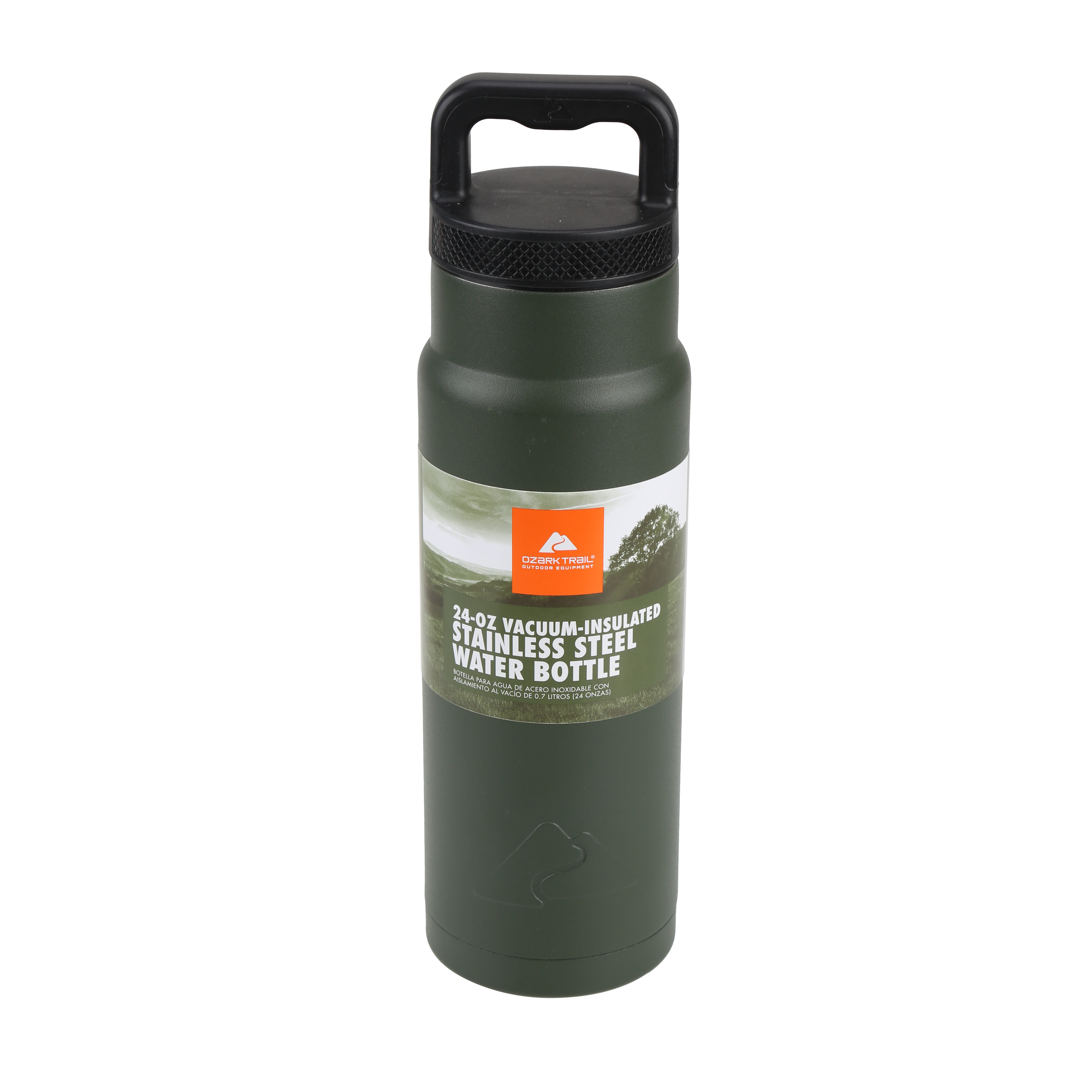 Ozark Trail 24-Ounce Vacuum Insulated Stainless Steel Bottle, Holly Green