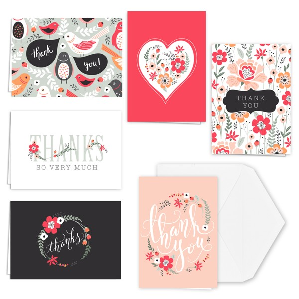 36ct Fresh Floral Note Cards