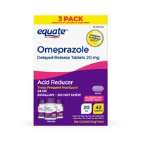 Equate Omeprazole Delayed Release Tablets 20 mg, Acid Reducer, Wildberry Mint Coated Tablet, 42ct
