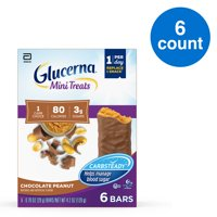 Glucerna Mini Treats, 6 Count, for People with Diabetes to Help Manage Blood Sugar, with CARBSTEADY and Essential Vitamins & Minerals, 80 Calories, Chocolate Peanut, 0.70 oz