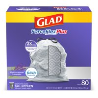 Glad Tall Kitchen Trash Bags, 13 Gallon, 80 Bags (ForceFlexPlus, Lavender)