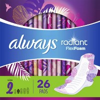 Always Radiant Pads Heavy Flow Absorbency - Scented - Size 2 - 26ct