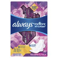 Always Radiant Pads, Size 1, Regular Pads with Wings, Scented (Choose Size and Count)