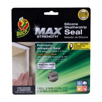 """Duck Max Strength Silicone .31"""". x .25"""" x 17' Weatherstrip Seal, White"""
