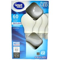 Great Value 60W Equivalent A19 LED Light Bulb, Glass, Dimmable, Daylight, 4-Pack