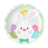 WayToCelebrate Easter Disposable Plates, Easter Bunny with Eggs, 10 Count