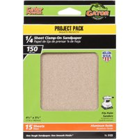 Gator Grit 4.5' x 5.5' 1/4 Sheet Clamp-On Sandpaper, 150G, 15pk