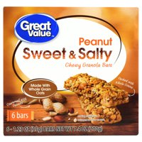 Great Value Sweet & Salty Chewy Granola Bars Peanut 1.23 oz 6 Count