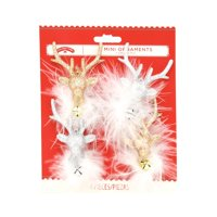Holiday Time Mini Ornaments, Glittery Deer, Gold & Silver