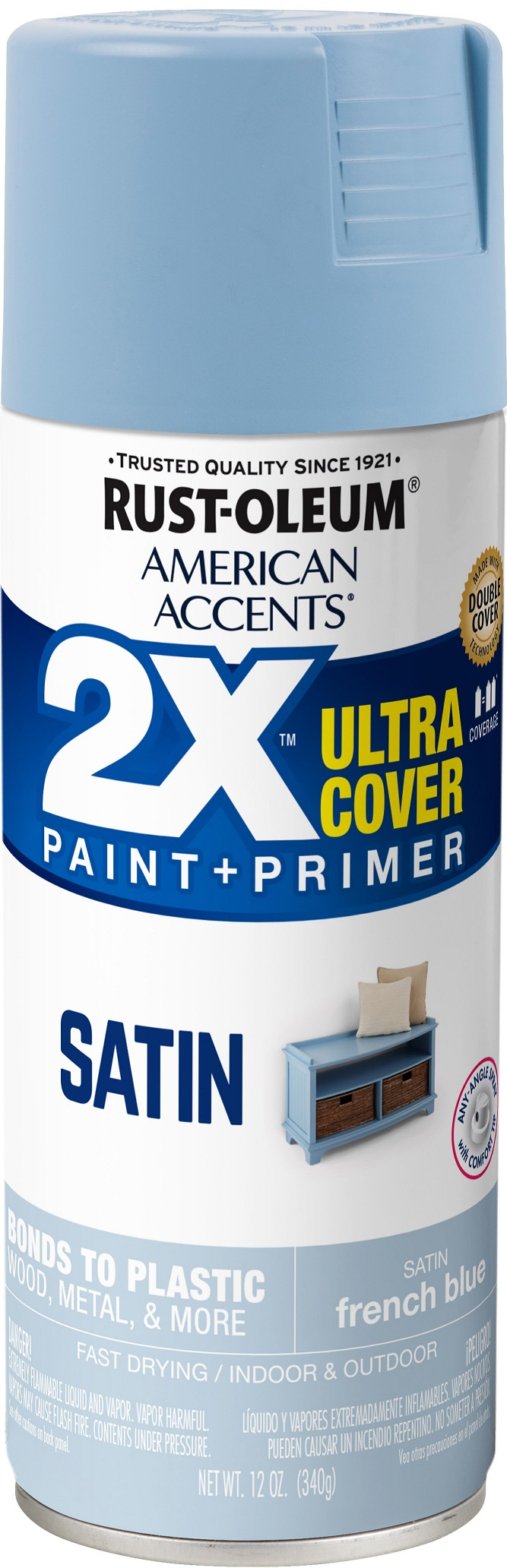 (3 Pack) Rust-Oleum American Accents Ultra Cover 2X Satin French Blue Spray Paint and Primer in 1, 12 oz