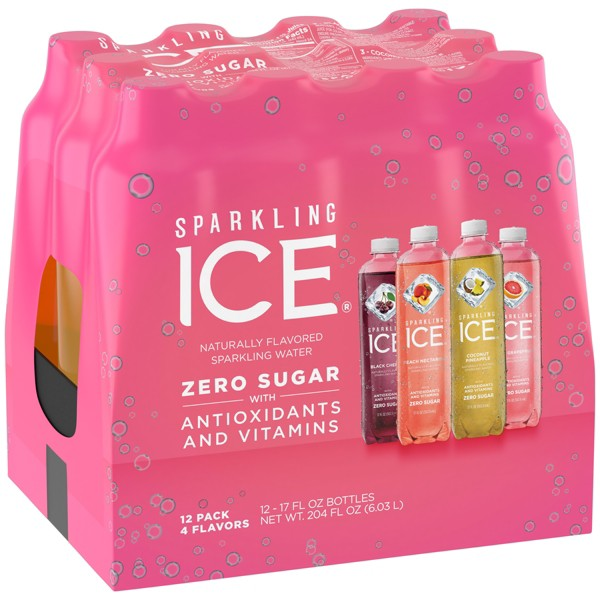 Sparkling Ice Variety Pack-Black Cherry/Peache Nectarine/Coconut Pineapple/Pink Grapefruit - 12pk/17 fl oz Bottles