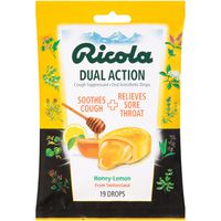 Ricola Dual Action Honey-Lemon Cough Suppressant Oral Anesthetic Drops
