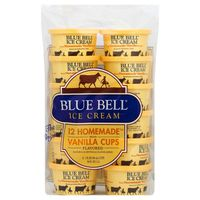 Blue Bell Ice Cream Cups, Homemade, Vanilla Flavored, 12 Pack