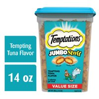 TEMPTATIONS JUMBO Stuff Cat Treats, Tempting Tuna Flavor, 14 oz. Tub
