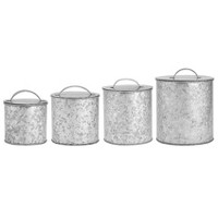 Amici Home 30-56-102 & 156 oz Set of 4 Newport Metal Storage Canisters Galvanized Silver