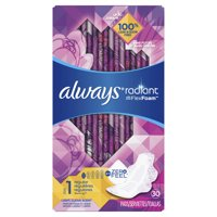 ALWAYS Radiant Regular Sanitary Pads Size 1 Light Clean Scent With Wings, 30 Count