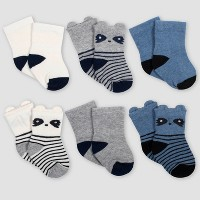 Gerber Baby Boys' 6pk Raccoon Wiggle Proof Crew Socks - Blue/Gray 0-6M