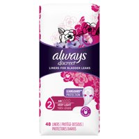 Always Discreet Incontinence Liners for Women, Very Light Absorbency, 48 Count