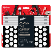Ziploc Brand Chic Collection Skinny Stuff Accessory Bags, (5 Bags)