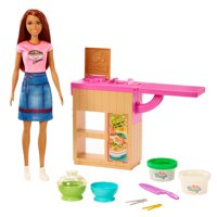 Barbie Noodle Bar Playset With Brunette Doll, Workstation, Accessories