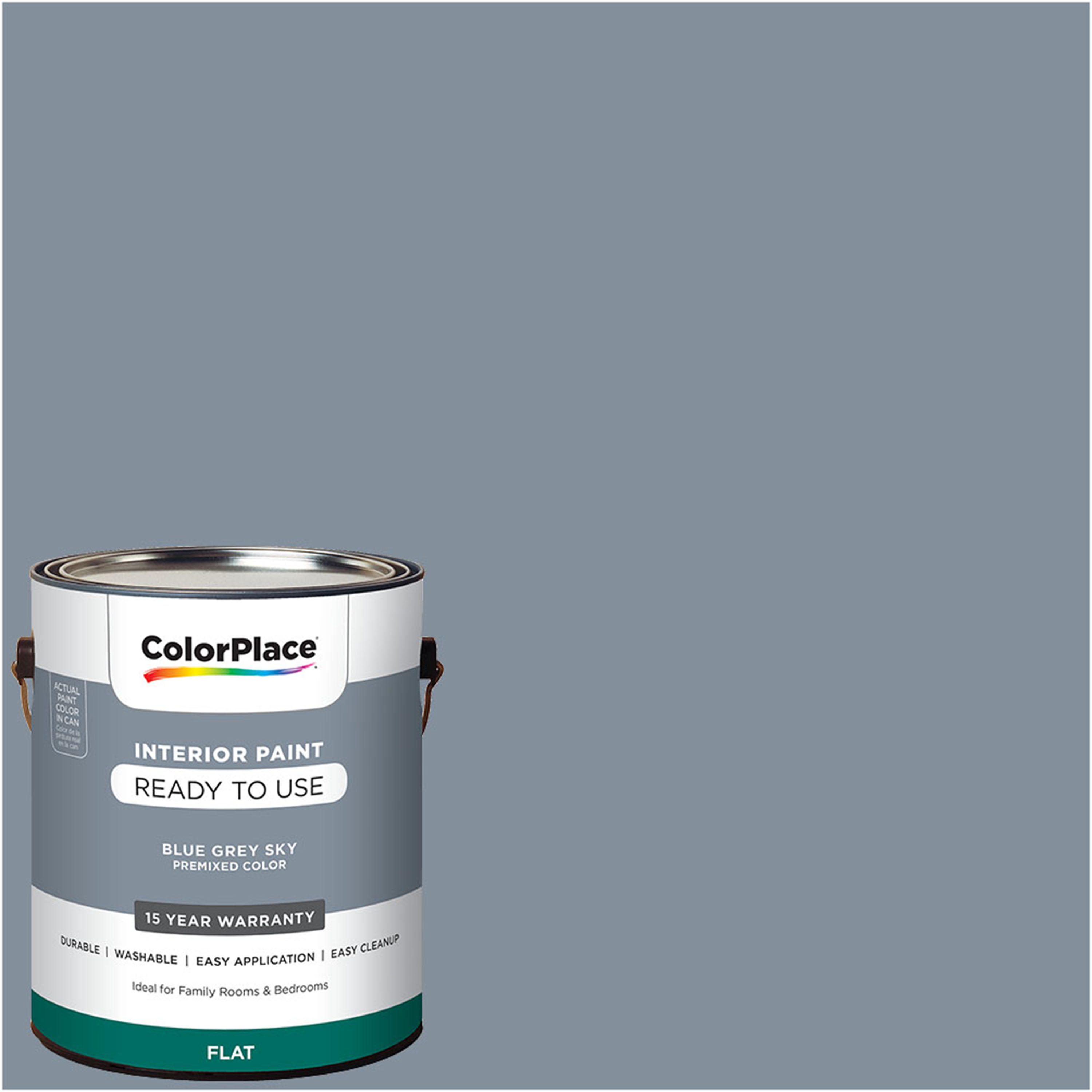 ColorPlace Pre Mixed Ready To Use, Interior Paint, Blue Grey Sky, 1 Gallon