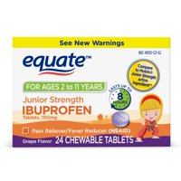 Equate Children's Ibuprofen Chewable Tablets, 100 mg, Grape Flavor, 24 Count