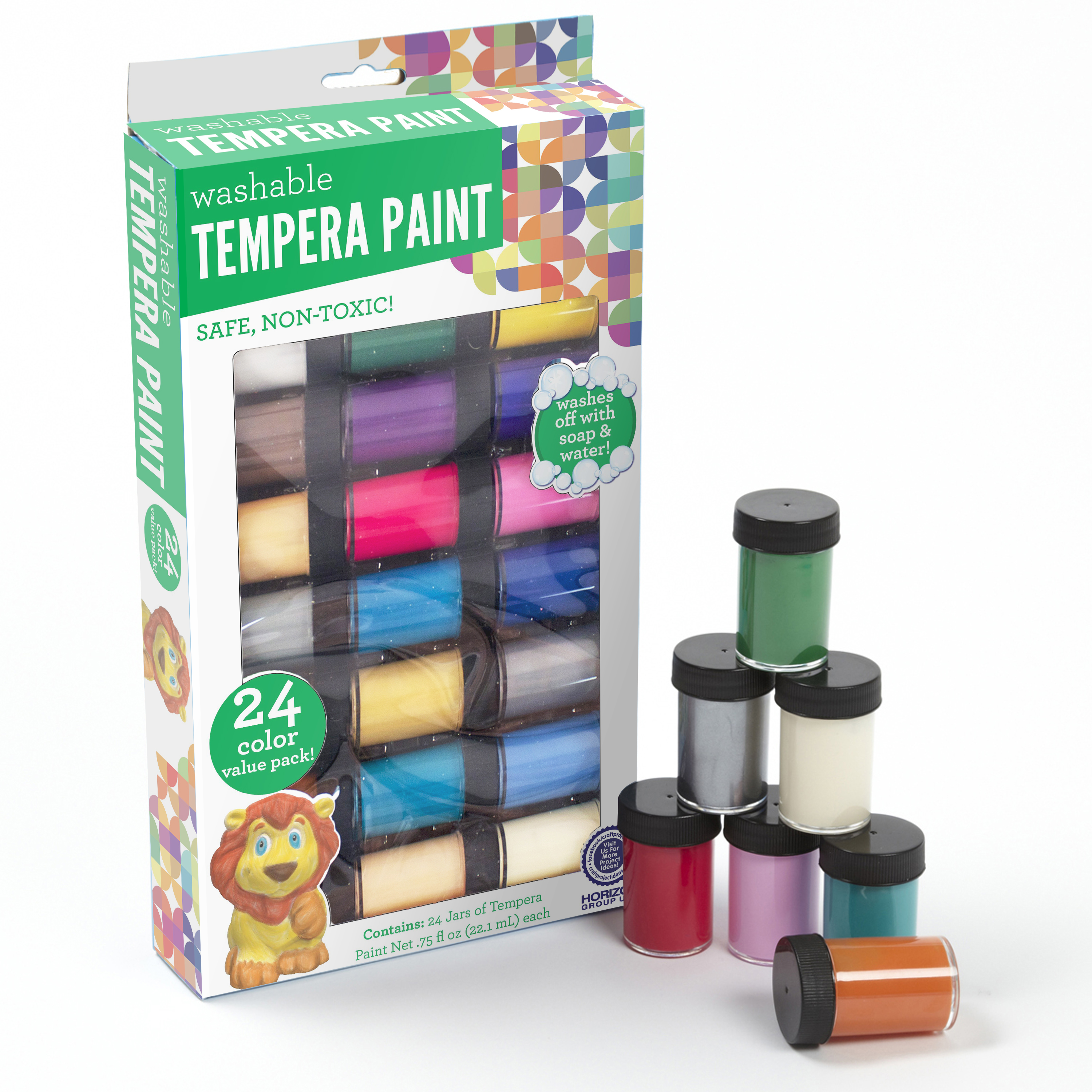 Horizon Group USA Washable Tempera Paint, 24 Count