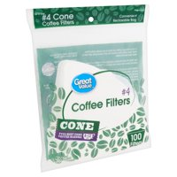 Great Value #4 Cone Coffee Filters, 100 count