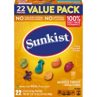 Sunkist Mixed Fruit  Flavored Snacks, 22 ct, 17.6 oz