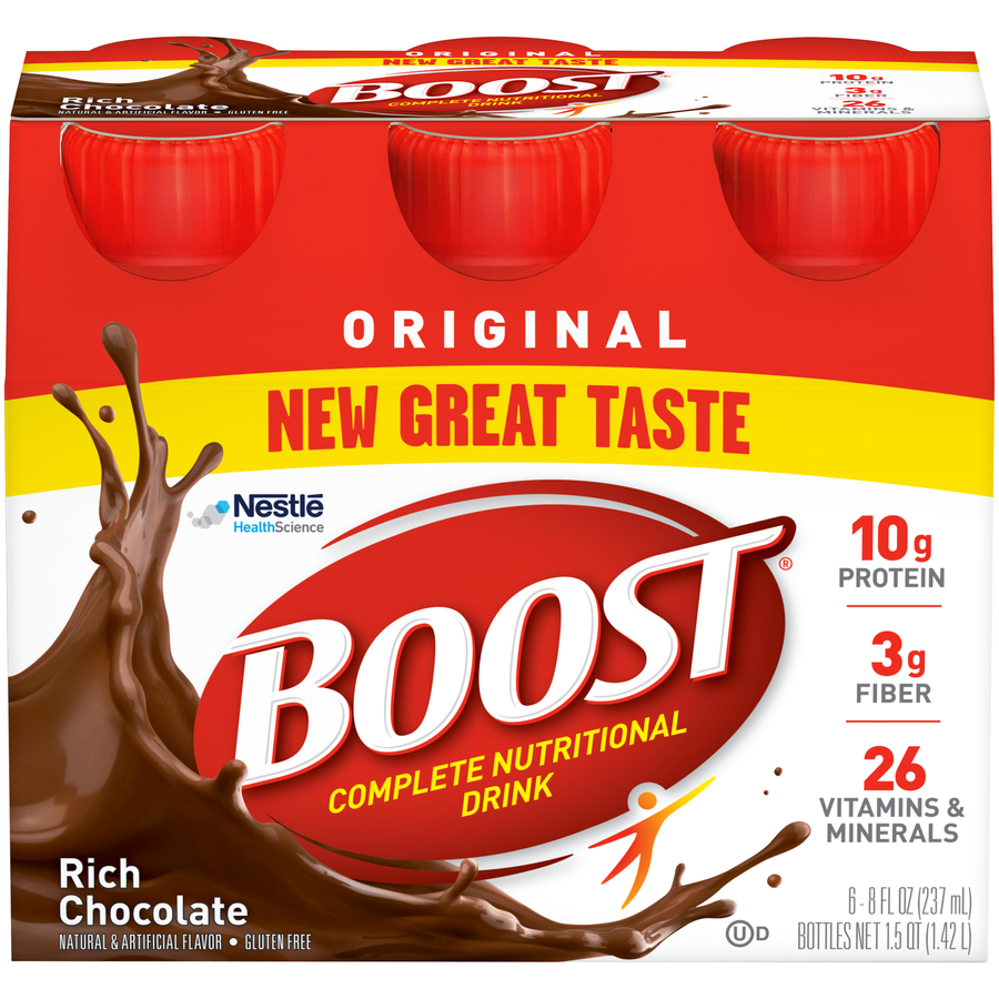 Boost Original Complete Nutritional Drink, Rich Chocolate, 8 fl oz Bottle, 6 Count