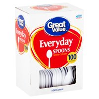 Great Value Everyday White Cutlery Spoons, 100 count