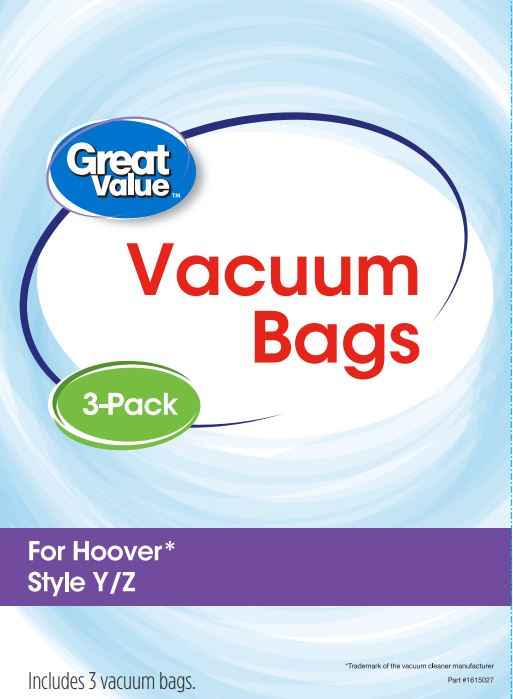 Great Value Hoover Style Y Z Vacuum Bag, 3-Pack, 2507
