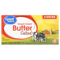 Great Value Sweet Cream Salted Butter, 4 count, 16 oz