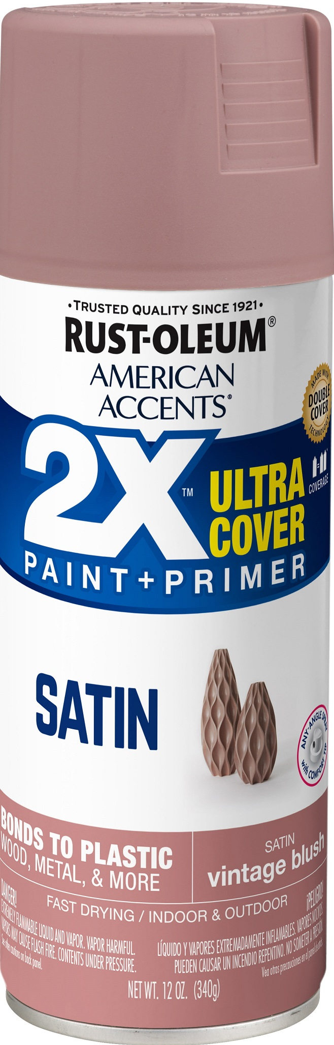 (3 Pack) Rust-Oleum American Accents Ultra Cover 2X Satin Vintage Blush Spray Paint and Primer in 1, 12 oz
