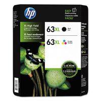HP 63XL High Yield Black/Tri-color Ink Cartridges, 2 ct
