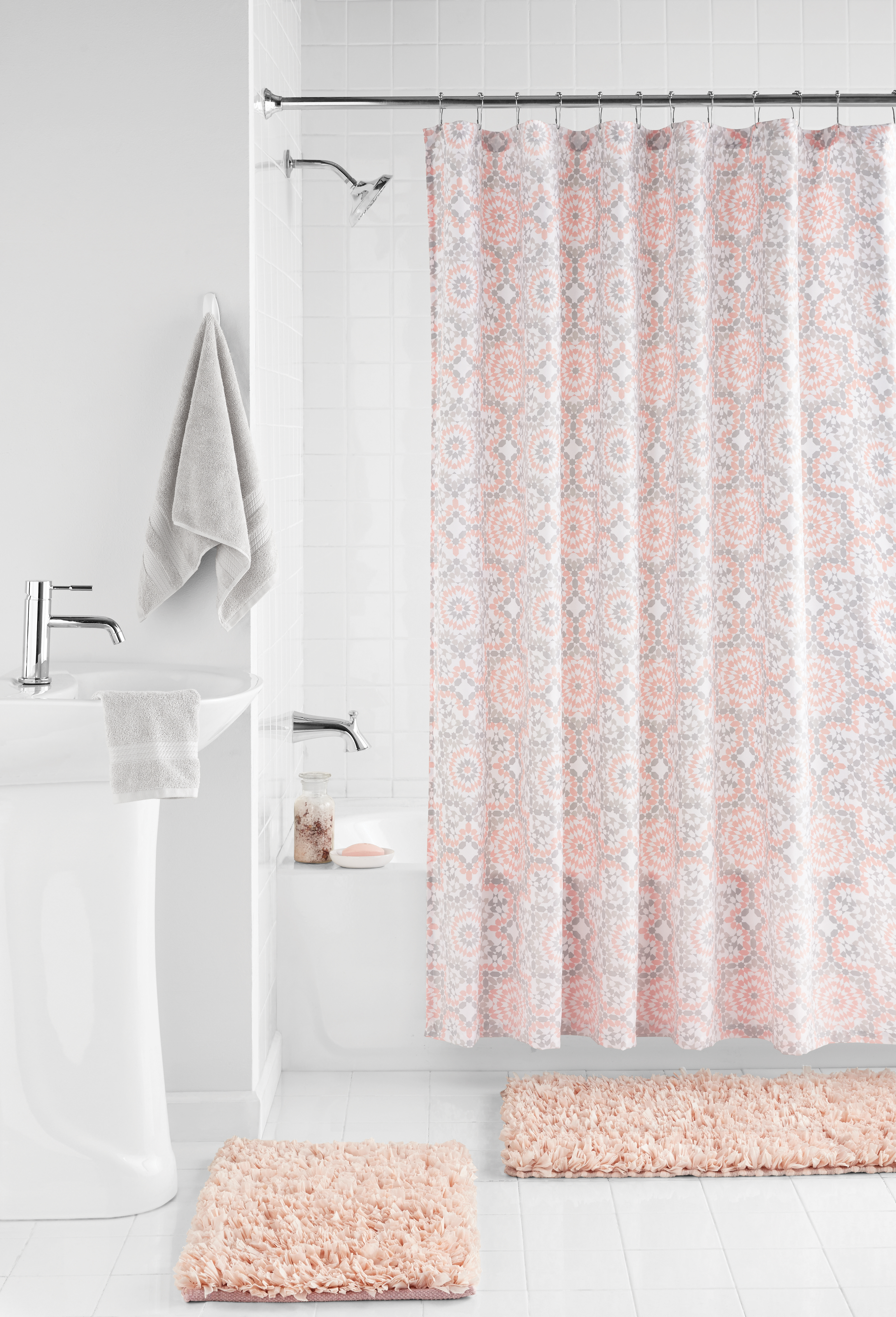Mainstays Shag Rug and Shower Curtain 15-Piece Bath Set, Blush