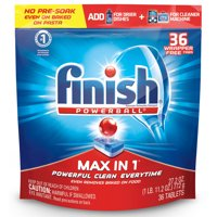 Finish Max in 1 Powerball, 36ct, Wrapper Free Dishwasher Detergent Tablets