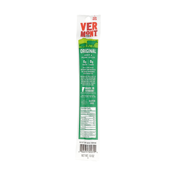 Vermont smoke & cure Cracked Pepper Beef & Pork Meat Stick, 1 each