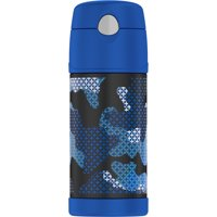 Thermos 12 Oz Funtainer Vacuum Insulated Straw Bottle, Blue Camo