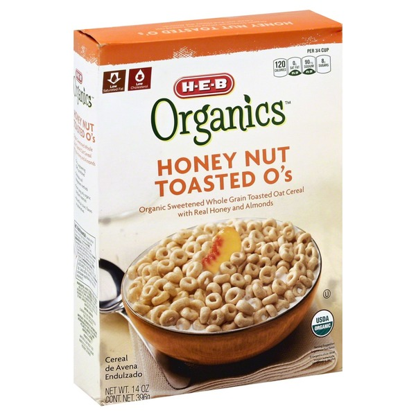 H-e-b Organics Honey Nut Toasted O's Organic Sweetened Whole Grain Toasted Oat Cereal With Real Honey And Natural Almond Flavor